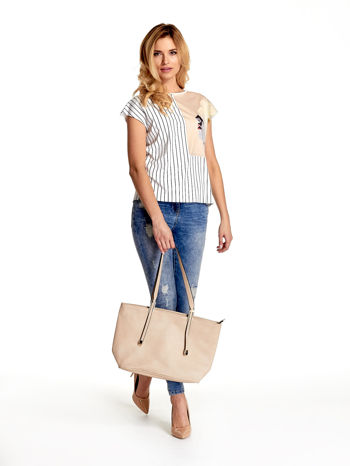 Kremowa prosta torba shopper bag                                  zdj.                                  6