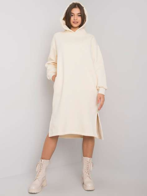 Kremowa sukienka dresowa z kapturem Christel