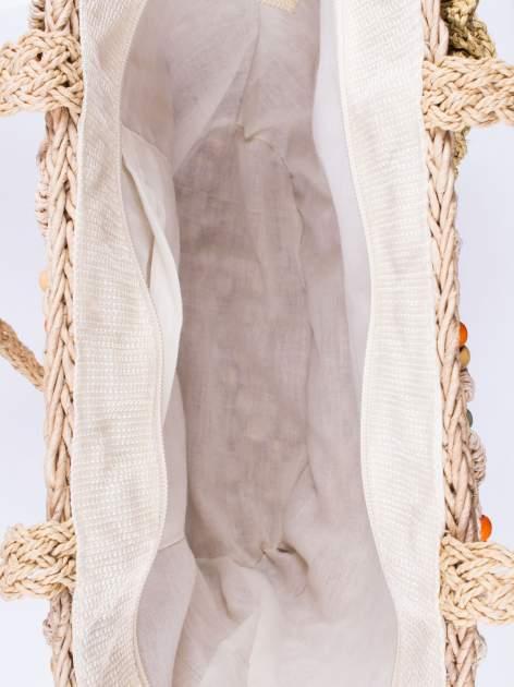 Kremowa torba koszyk plażowy z frędzlem                                  zdj.                                  4