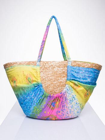 Kremowa torba koszyk plażowy z łączonych materiałów                                  zdj.                                  3