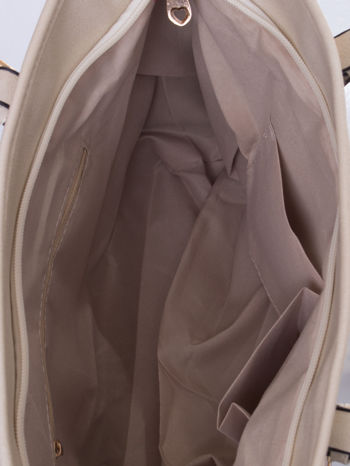 Kremowa torba shopper bag z regulowanymi rączkami                                  zdj.                                  5