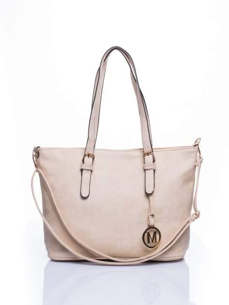 Kremowa torba shopper bag z zawieszką                                  zdj.                                  1