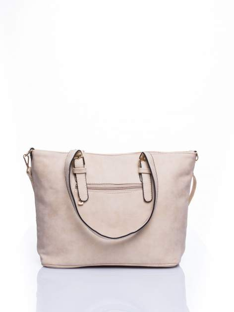 Kremowa torba shopper bag z zawieszką                                  zdj.                                  3