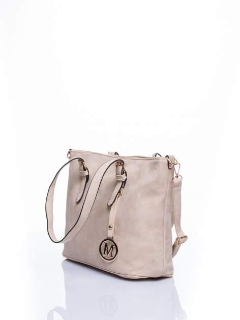 Kremowa torba shopper bag z zawieszką                                  zdj.                                  4