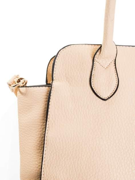 Kremowa torba z klamrami z odpinanym paskiem                                  zdj.                                  4