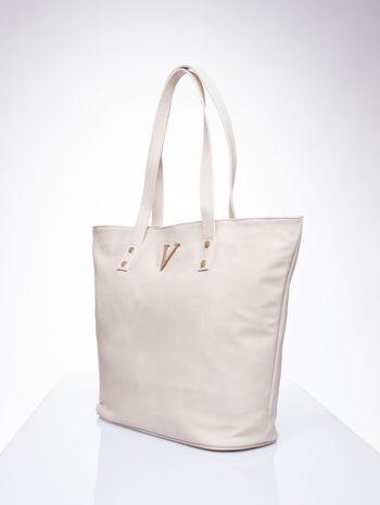 Kremowa torba ze złotym detalem                                  zdj.                                  3