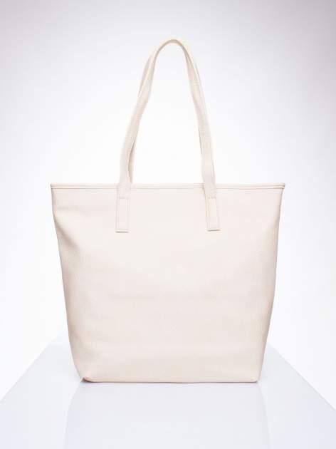 Kremowa torebka shopper bag z kokardką                                  zdj.                                  4
