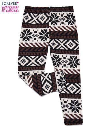 Kremowe legginsy dziewczęce w zimowy wzorek