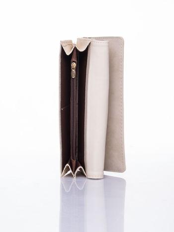 Kremowy dziurkowany portfel ze złotym wykończeniem                                  zdj.                                  5