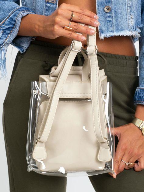 Kremowy plecak z ekoskóry                              zdj.                              3
