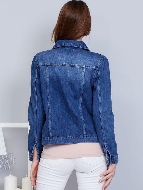 Krótka kurtka jeansowa niebieska                               zdj.                              2
