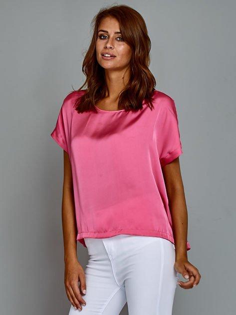 Krótki t-shirt oversize różowy                                  zdj.                                  3