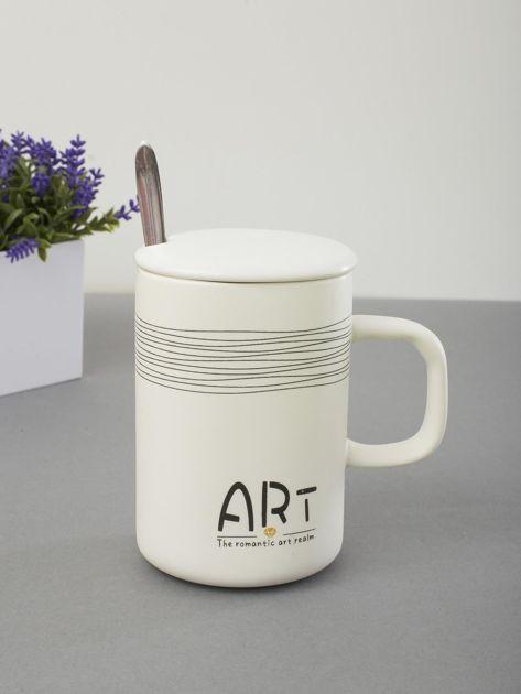 Kubek biały ceramiczny z pokrywką                              zdj.                              4