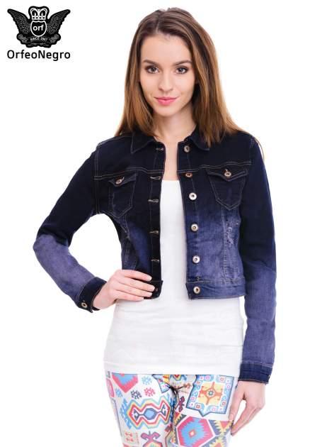 Kurtka jeansowa damska z efektem ombre w kolorze granatowym                                  zdj.                                  1