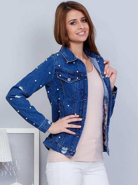 Kurtka jeansowa niebieska z perełkami                                  zdj.                                  5