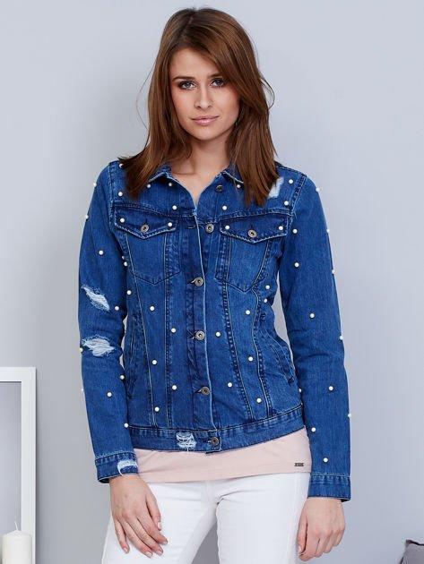 Kurtka jeansowa niebieska z perełkami                                  zdj.                                  6