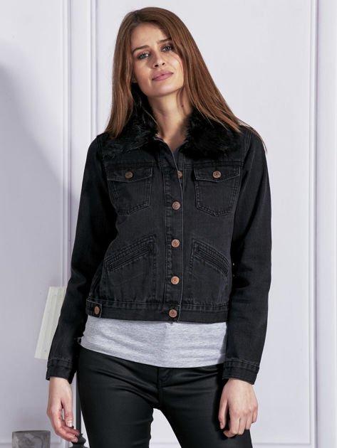 Kurtka jeansowa z odczepianym futerkiem szara
