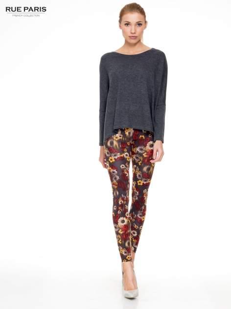 Kwiatowe legginsy w kolorze brązowym                                  zdj.                                  2