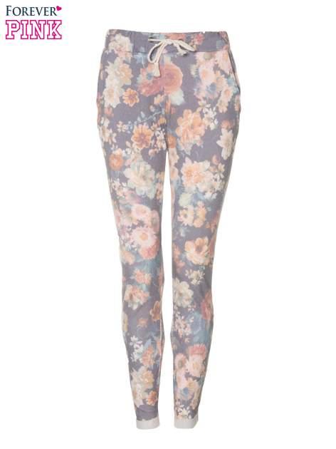 Kwiatowe spodnie dresowe ściągane w pasie                                  zdj.                                  5