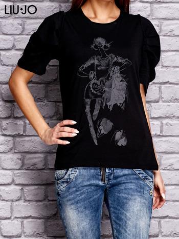 LIU JO Czarny t-shirt z nadrukiem i bufiastymi rękawami                                  zdj.                                  1