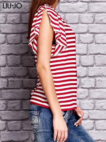 LIU JO Czerwony t-shirt w paski z kobiecym nadrukiem                                  zdj.                                  2
