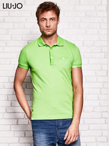 LIU JO Zielona gładka koszulka polo