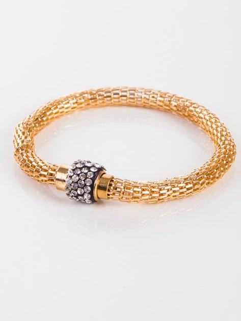 LOLITA Bransoletka wężowa złota z cyrkoniami, magnetyczna                              zdj.                              1