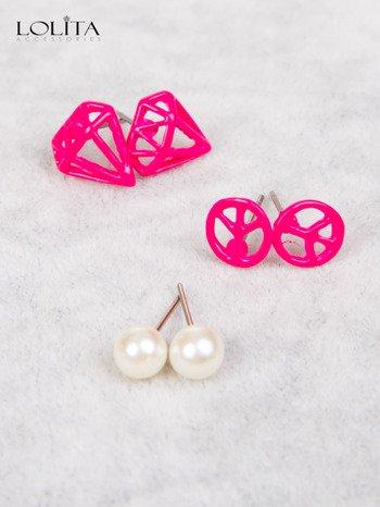 LOLITA Kolczyki różowe PACYFA perła PAKA 3 szt