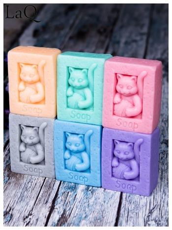 LaQ Mydełko Kot z kłębkiem wełny - niebieski / Zapach - wata cukrowa BEZ SLS i SLES                                  zdj.                                  2