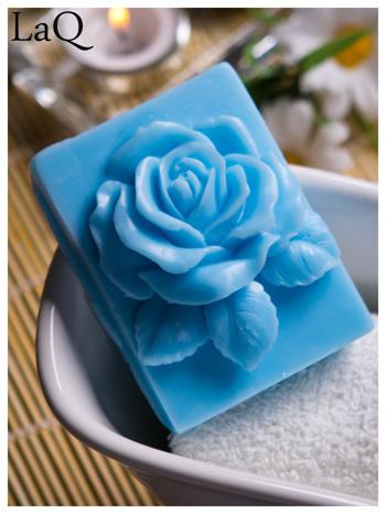 LaQ Mydełko Róża w prostokącie - niebieski / Zapach - wata cukrowa BEZ SLS i SLES                                  zdj.                                  1