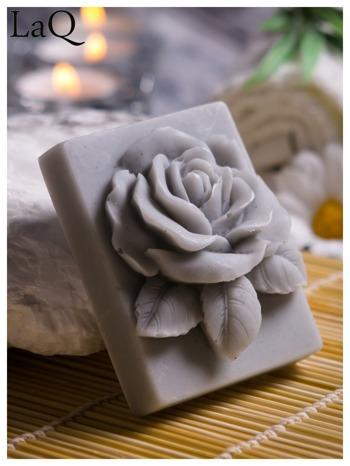 LaQ Mydełko Róża w prostokącie - szary / Zapach - wata cukrowa BEZ SLS i SLES                                  zdj.                                  1