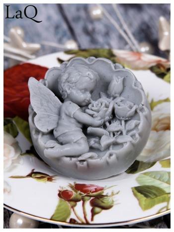 LaQ Mydełko duże Anioł z różami w medalionie - szary / Zapach - wata cukrowa BEZ SLS i SLES