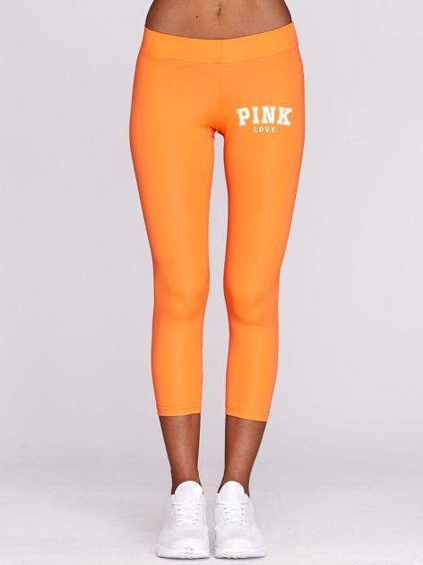 Legginsy do biegania z grafiką PINK LOVE z przodu fluopomarańczowe                                  zdj.                                  1
