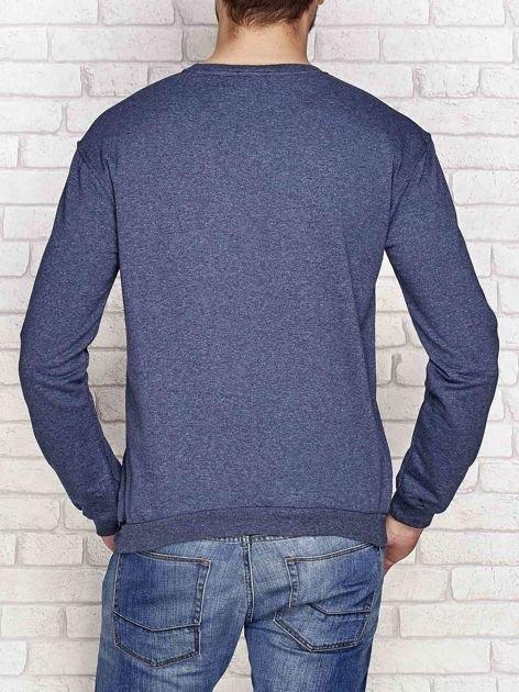 Lekko ocieplana bluza męska z napisem DENIM ciemnoniebieska