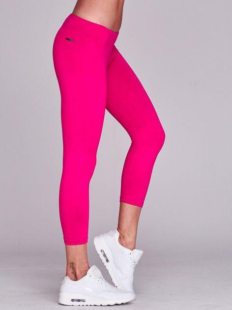 Lekko ocieplane legginsy fitness o długości 7/8 ciemnofuksjowe                              zdj.                              3