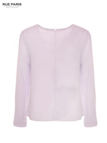 Liliowa koszula z przeszyciami i łezką z tyłu                                  zdj.                                  1