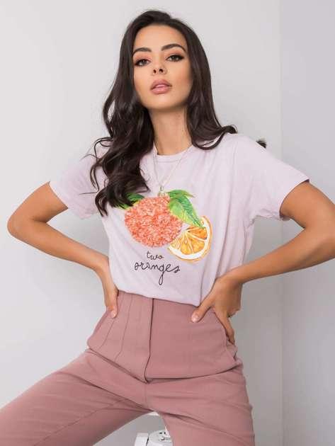 Liliowy t-shirt damski z aplikacją Fenna