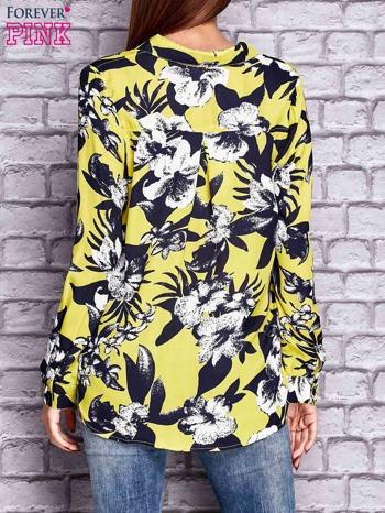 Limonkowa koszula z motywem kwiatowym                                  zdj.                                  2