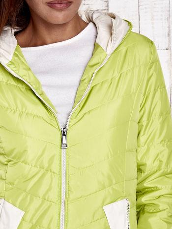 Limonkowa pikowana kurtka z jasnym wykończeniem                                  zdj.                                  9