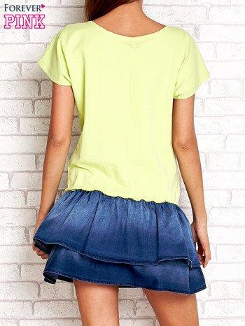 Limonkowa sukienka dresowa z jeansowym dołem                                  zdj.                                  2