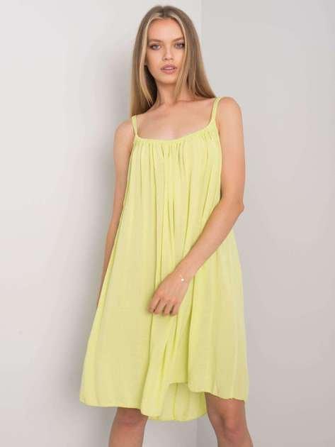 Limonkowa sukienka na ramiączkach Polinne OCH BELLA