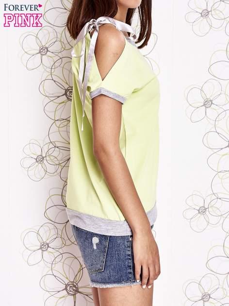 Limonkowy t-shirt z kokardą                                  zdj.                                  3