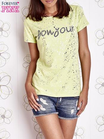 Limonkowy t-shirt z napisem BONJOUR                                  zdj.                                  1