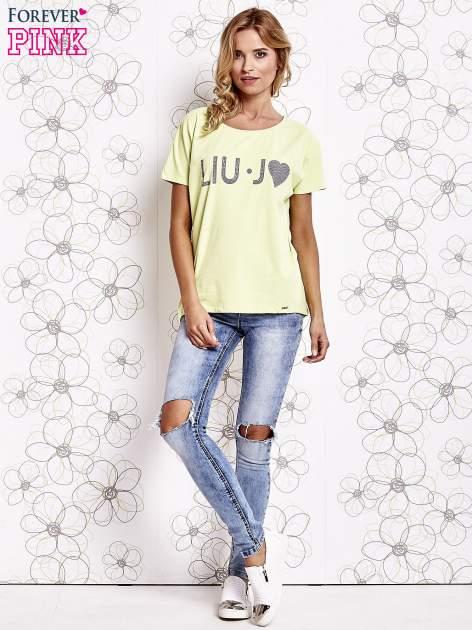 Limonkowy t-shirt z napisem LIU J❤                                  zdj.                                  2