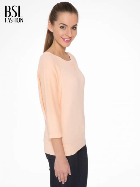 Łososiowa bluza oversize z łączonych materiałów                                  zdj.                                  3