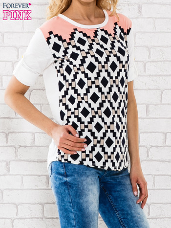 Łososiowa bluzka w azteckie wzory                                  zdj.                                  3