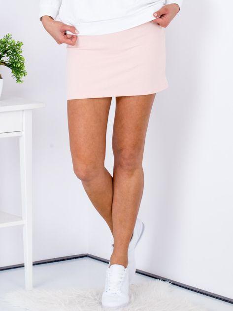 Łososiowa dresowa spódnica mini                                  zdj.                                  1