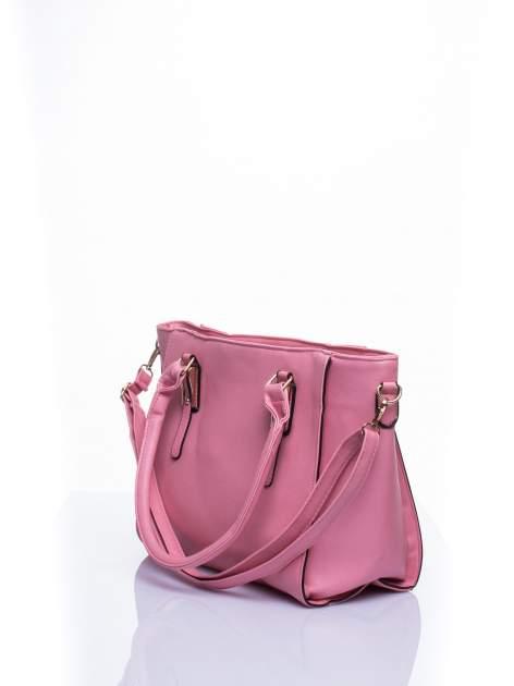 Łososiowa torba shopper bag z odpinanym paskiem                                  zdj.                                  3