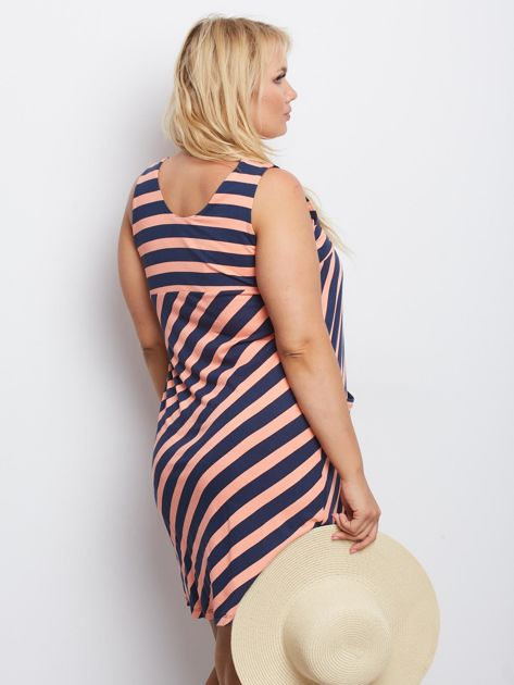 Łososiowo-granatowa sukienka plus size Tendency                              zdj.                              2