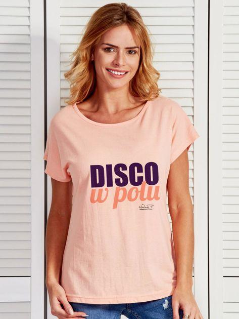 Łososiowy t-shirt damski DISKO W POLU by Markus P                                  zdj.                                  1